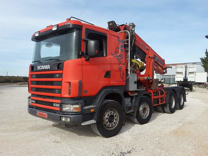 CAMION FORESTIER SCANIA 144 G 530 8X4 GRUE DIEBOLT D30.85 OCCASION